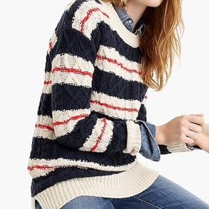 J. Crew Cable Knit Striped Sweater (M)